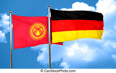 Kyrgyzstan flag with Germany flag, 3D rendering