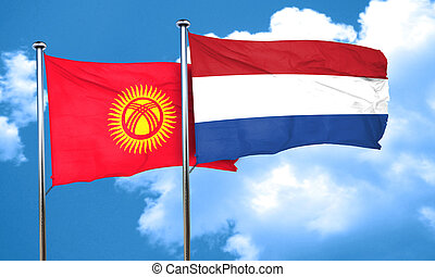 Kyrgyzstan flag with Netherlands flag, 3D rendering
