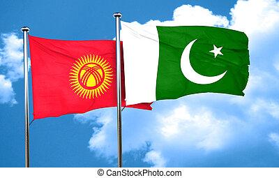 Kyrgyzstan flag with Pakistan flag, 3D rendering