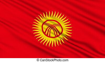 Kyrgyzstan Flag, with real structure of a fabric