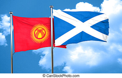 Kyrgyzstan flag with Scotland flag, 3D rendering