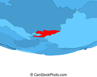 Kyrgyzstan in red on blue map