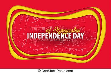 Kyrgyzstan. Independence day greeting card. Paper cut style.