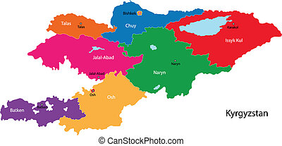 Kyrgyzstan map - Map of administrative divisions of ...