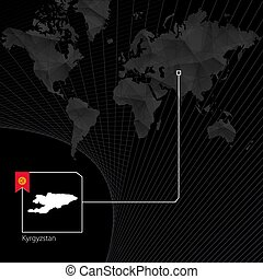 Kyrgyzstan on black World Map. Map and flag of Kyrgyzstan.
