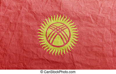 Kyrgyzstan - State flag fluttering in the wind. Colored ...