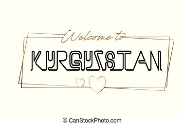 Kyrgyzstan Welcome to text Neon lettering typography. Word for logotype, badge, icon, postcard, logo, banner Vector Illustration.