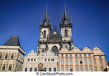 kyrka, av, vår, dam, tyn, in, prag, tjeckisk republik