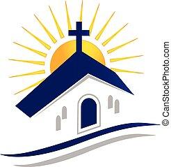kyrka, med, sol, logo, vektor, ikon