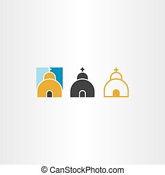 kyrka, vektor, sätta, ikon