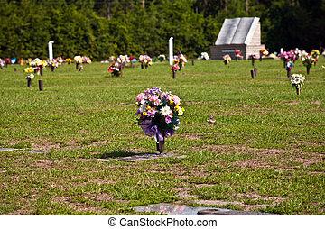 kyrkogård, amerikan, blomningen, gravar