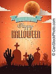 kyrkogård, bakgrund, halloween, över, parti, kort