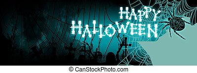 kyrkogård, baner, halloween, spiderweb, silhuett