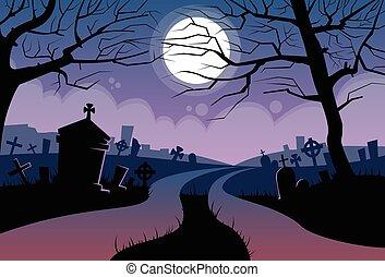 kyrkogård, baner, måne, halloween, kort, flod, kyrkogård