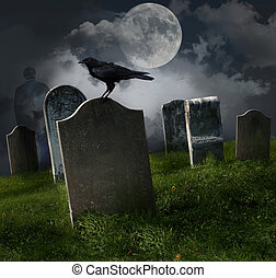 kyrkogård, gammal, gravestones, måne