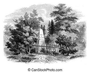 kyrkogård, grav, sismondi, engraving., geneve, årgång, chenes