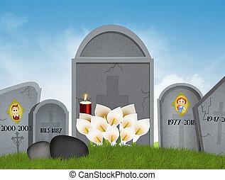 kyrkogård, gravestones