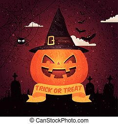 kyrkogård, halloween, bakgrund, över, affischtavla