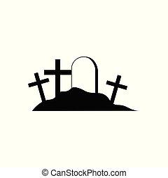kyrkogård, halloween, illustration, vektor