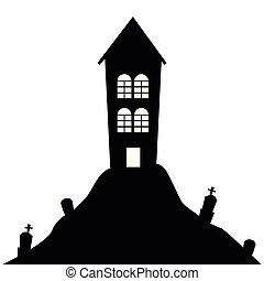 kyrkogård, halloween, kulle, gravestones