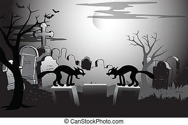 kyrkogård, halloween natt