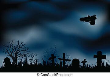 kyrkogård, kyrkogårdar, eller, natt