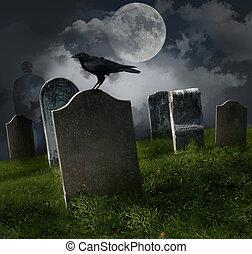 kyrkogård, med, gammal, gravestones, och, måne