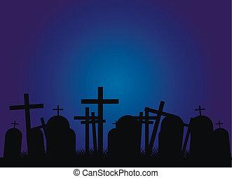 kyrkogård, natt