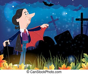 kyrkogård, natt, gammal, vampyr