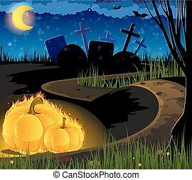 kyrkogård, pumpor, gammal, brännande