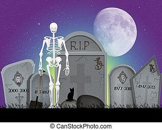 kyrkogård, skelett