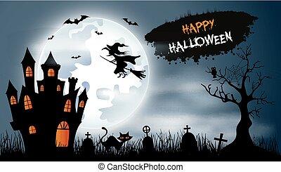 kyrkogård, slott, halloween, bakgrund, slagträ