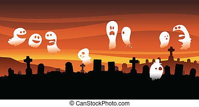 kyrkogård, spöklikt