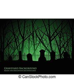 kyrkogård, träd, bakgrund