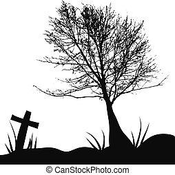kyrkogård, träd, gravsten