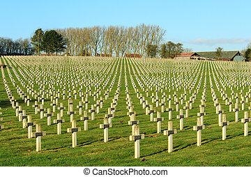 kyrkogård, värld, krig, en, in, frankrike, vimy, la, targette