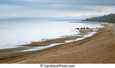 kyst, i, baltiskt hav, tidlige formiddag ind
