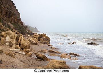 kyst, i, sort hav, tidlige formiddag ind