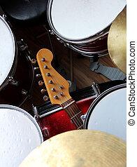 kytara, a, bubnování