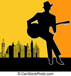 kytara, big, blues, koncert, město
