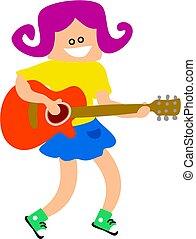 kytara, děvče