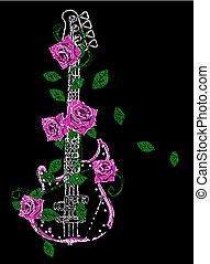 kytara, růže, ilustrace, balvan