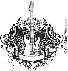 kytara, s, křídla, charakter