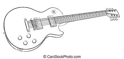 Kytara Skica Moda Znak Skica Kytara Neposkvrneny