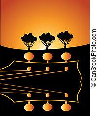 kytara, vektor, grafické pozadí