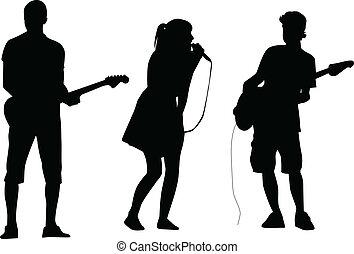 kytarista, a, zpěvák, silueta, vektor