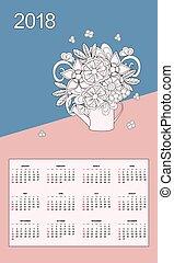 kytice, zalévání, konzerva, rok, kalendář, květiny,  2018