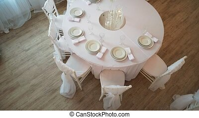 là, tissu, serviettes, servi, plaques, blanc, table