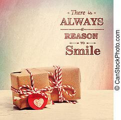 lá, é, always, um, razão, sorrir, com, cute, pequeno, presente boxeia