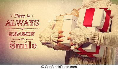 lá, é, always, um, razão, sorrir, feriado, mensagem